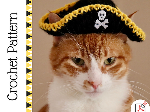 Pirate Hat for Cats - Crochet Pattern