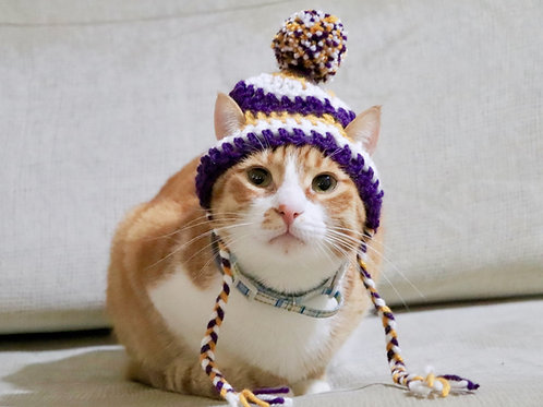 Purple and Gold Striped Beanie Hats for Cats