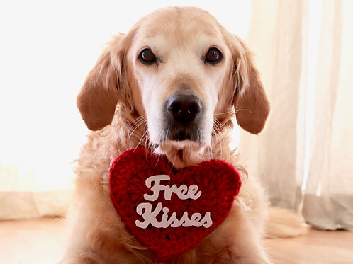 Free Kisses Heart Sign for Dogs