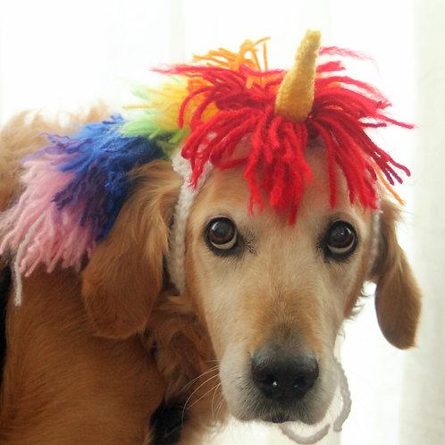 Dog Unicorn Costume with Rainbow Mane