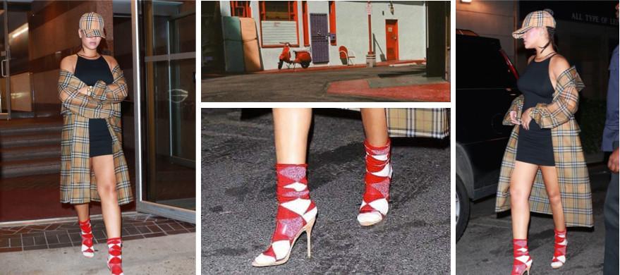 Rihanna rocks red argyle socks with plastic heels