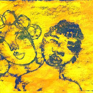 Blue on Yellow Monoprint Series (24)