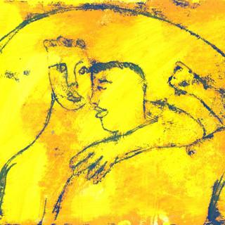 Blue on Yellow Monoprint Series (21)