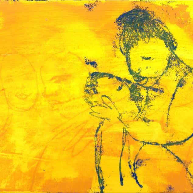Blue on Yellow Monoprint Series (19)