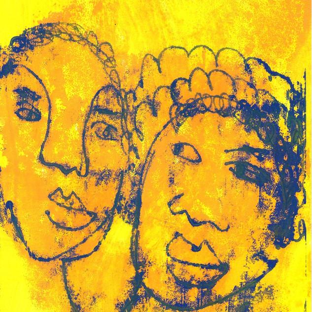 Blue on Yellow Monoprint Series (17)