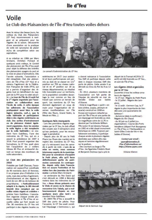 Le CP Yeu dans la Gazette Annonces
