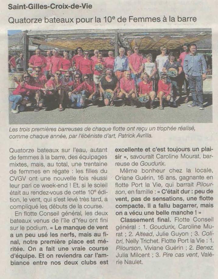Femmes a la barre a Saint Gilles Croix de Vie : les 2 bateaux du CP Yeu sur le podium !