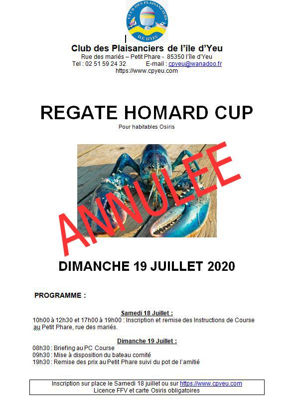 Annulation de la Homard Cup