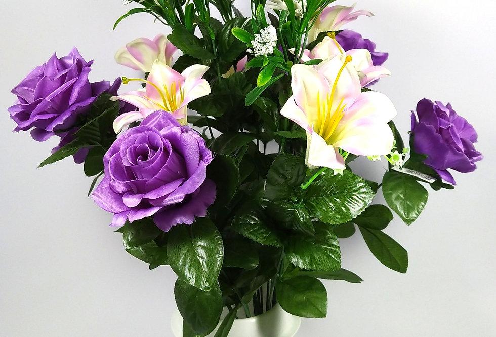 Τριαντάφυλλα μωβ κρινάκια - Μπουκέτο σε βάζο