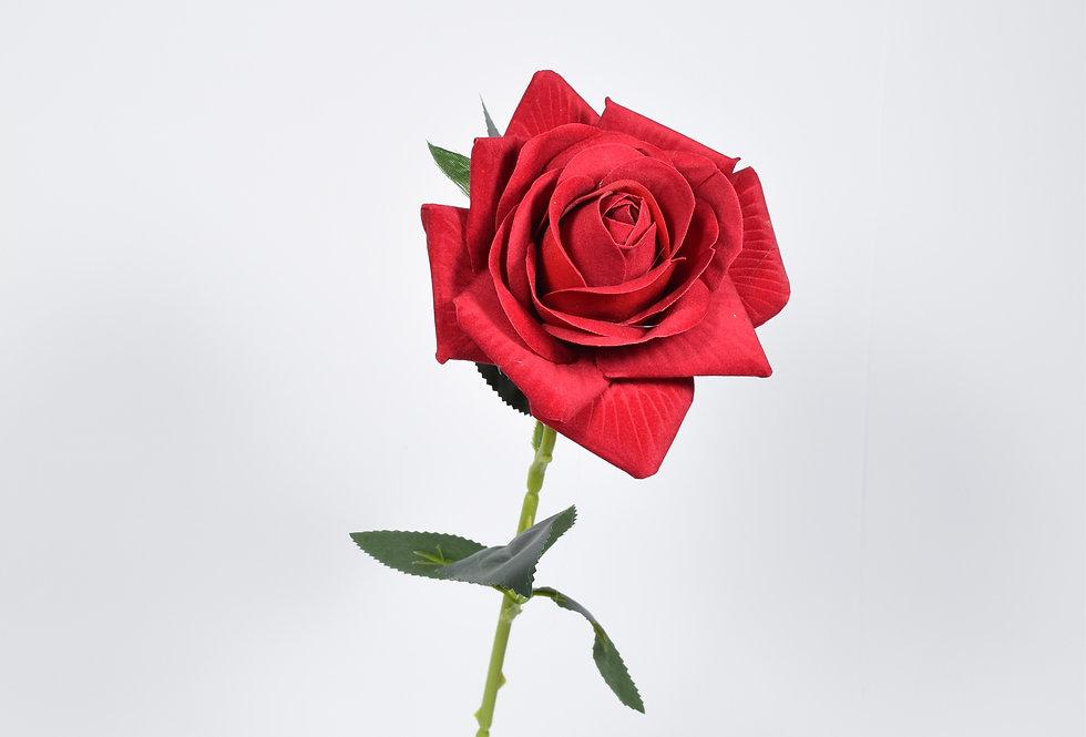 Κλωνάρι τεχνητό τριαντάφυλλο σε βαθύ κόκκινο χρώμα