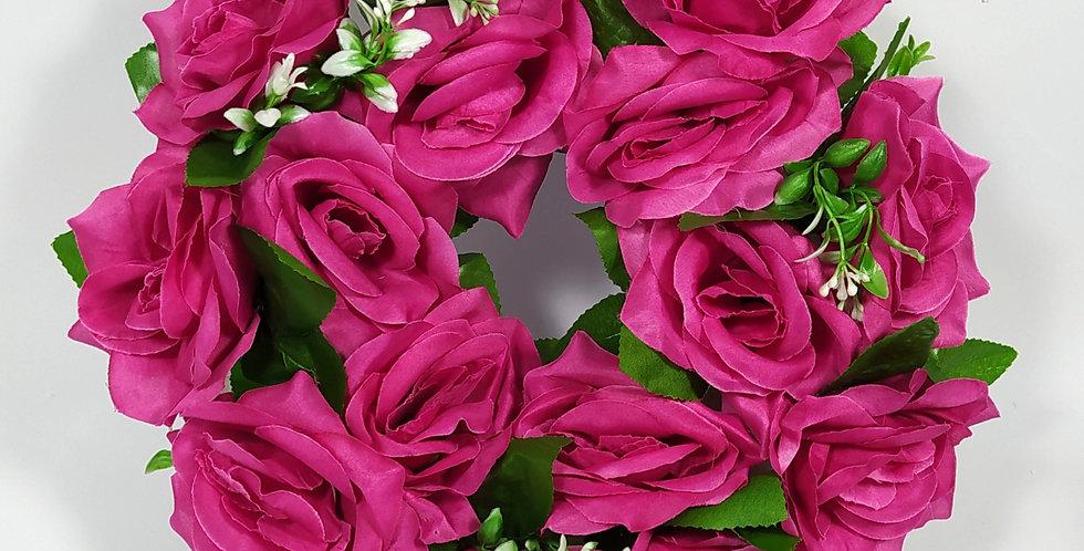 Τριαντάφυλλα φούξια μεγάλα - Στεφάνι