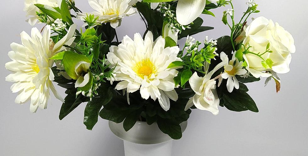 Ζέρμπερες - ορχιδέες - τριαντάφυλλα - άσπρα - Μπουκέτα σε βάζο