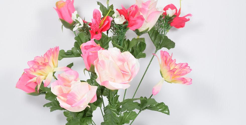 Μπουκέτο με τεχνητά άνθή, τριαντάφυλλα και ζέρμπερες , σε 3χρωματικούς συνδυασμούς.