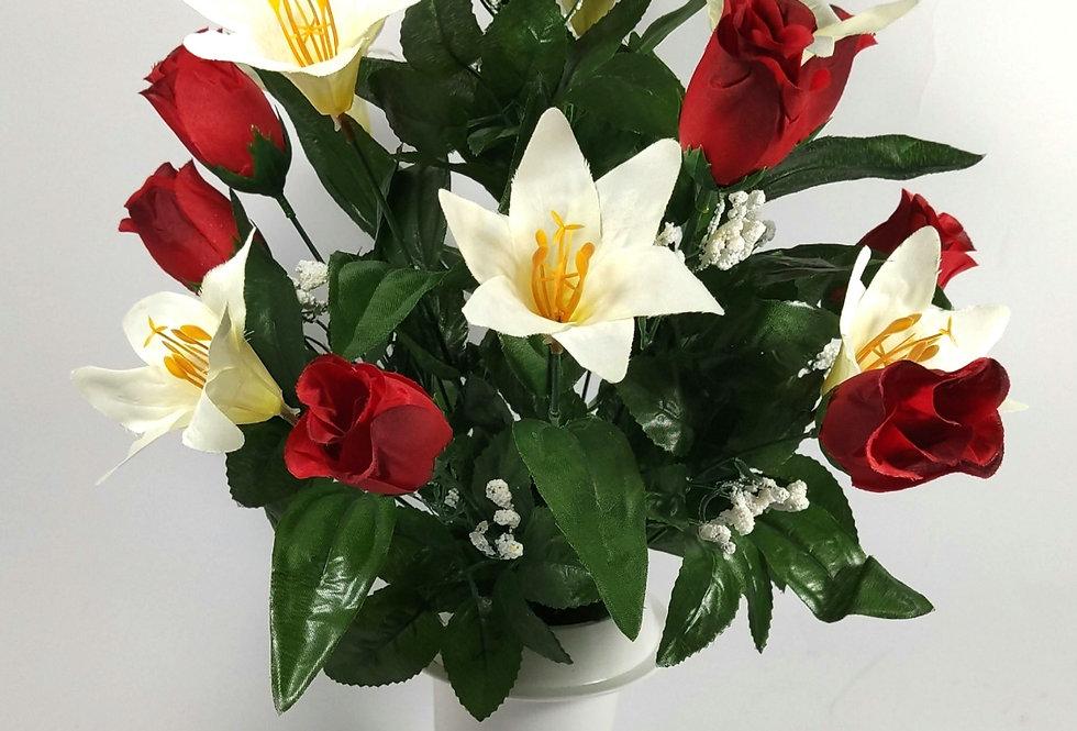 Κόκκινα τριαντάφυλλα και κρινοι - Μπουκέτο σε βάζο