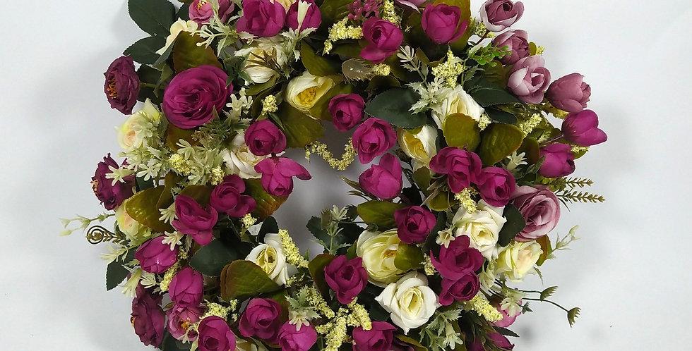 Τουλίπες τριαντάφυλλα και Νεραγκούλες - Στεφάνι