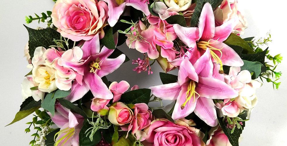 Κρινοι τριαντάφυλλα και ορτανσίες - Στεφάνι
