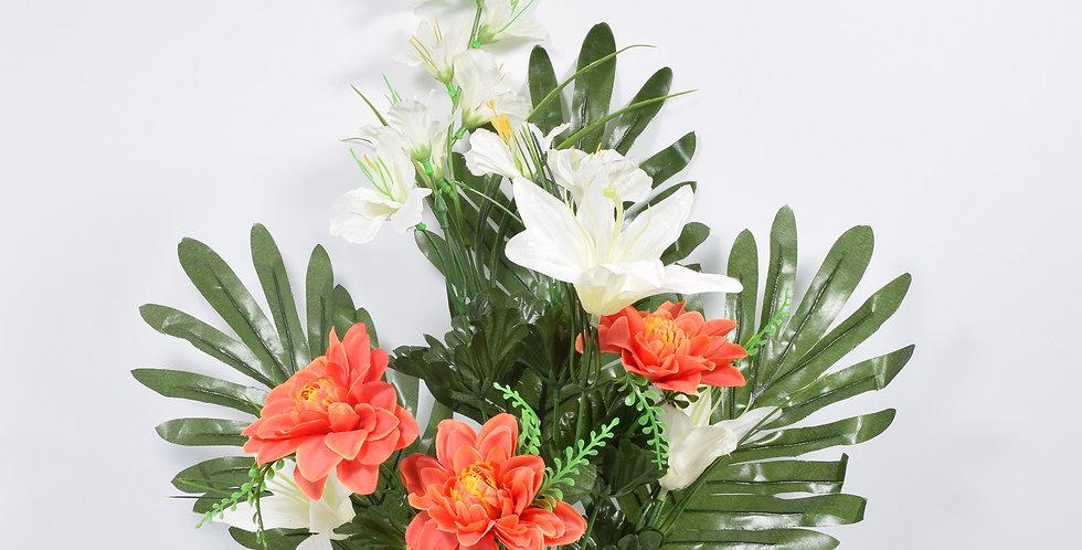 Μπουκέτο με τεχνητά άνθή (ψεύτικα λουλούδια) ,κρινάκια και ζήνιες, σε 3χρωματικούς συνδυασμούς.