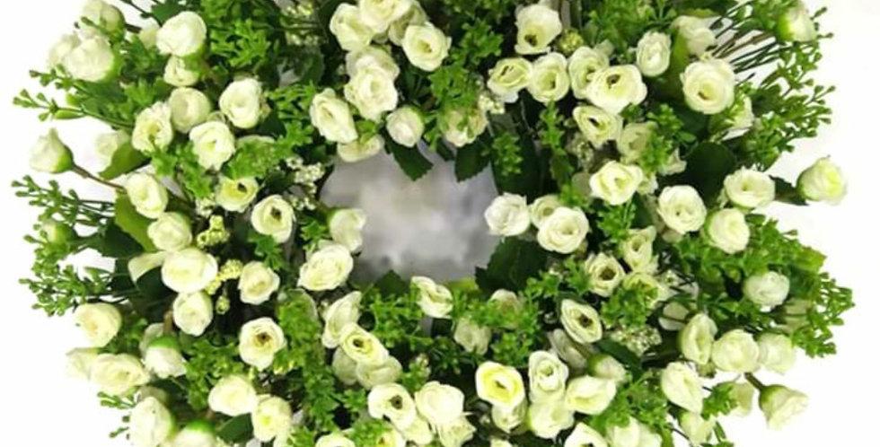 Στεφάνι λευκό τριαντάφυλλακι