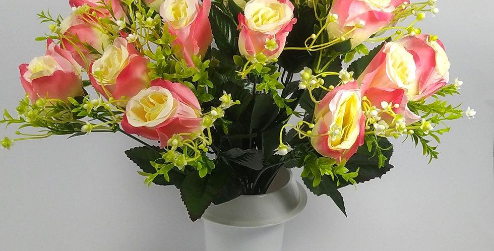Τριαντάφυλλα μπακαρας ροζ - Μπουκέτο σε βάζο