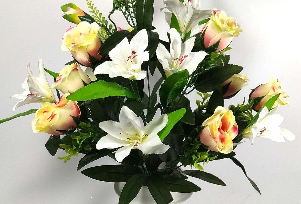 Σομόν τριαντάφυλλα και κρινοι - Μπουκέτο σε βάζο
