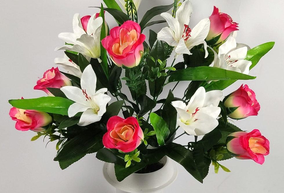Ροζ τριαντάφυλλα και κρινοι - Μπουκέτο σε βάζο