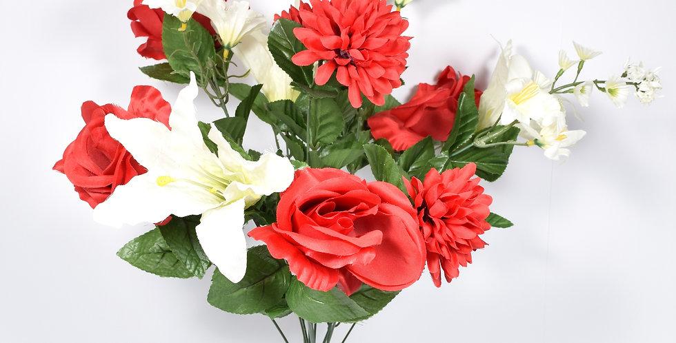 Μπουκέτο με τεχνητά άνθή τριαντάφυλλα, λίλιουμ και χρυσάνθεμα, σε 2χρωματικούς συνδυασμούς.