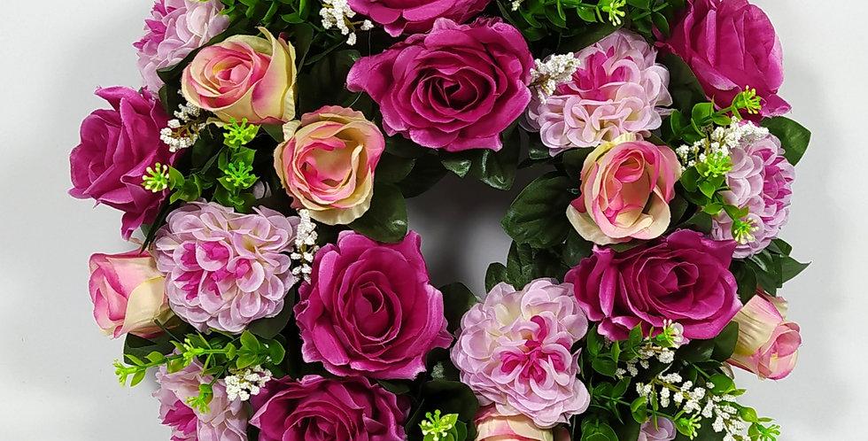 Τριαντάφυλλα και ζήνιες μωβ  - Στεφάνι
