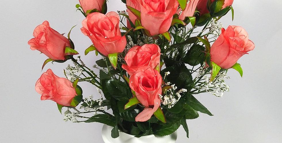 Τριαντάφυλλα μπακαρας σομον - Μπουκέτο σε βάζο