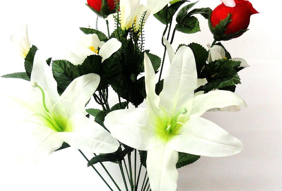 Μπουκέτο με τεχνητά λουλούδια - Τριαντάφυλλα - κρίνοι
