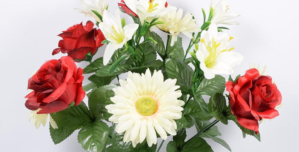 Μπουκέτο με τεχνητά άνθή, ζέρμπερες και τριαντάφυλλα, σε 3χρωματικούς συνδυασμούς. Ψεύτικα λουλούδια.