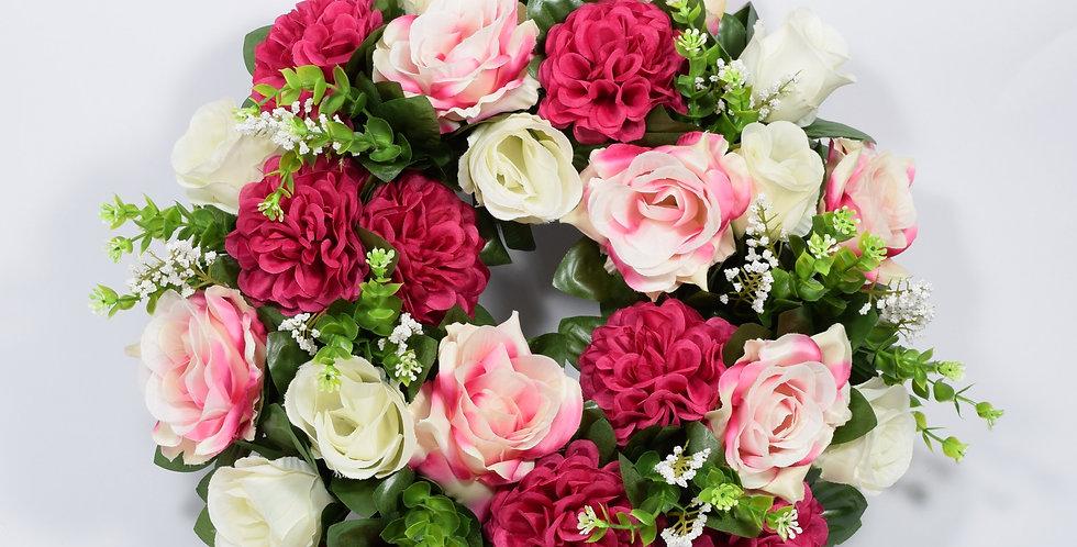 Τριαντάφυλλα και ζήνιες φούξια - Στεφάνι