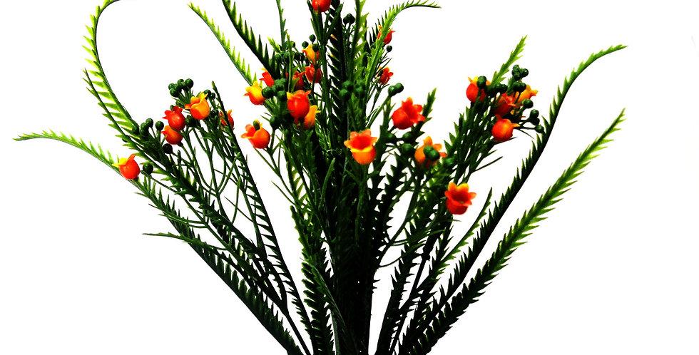 Μικρό μπουκέτο με τεχνητή πρασινάδα και άνθη, σε 3χρωματικούς συνδυασμούς.