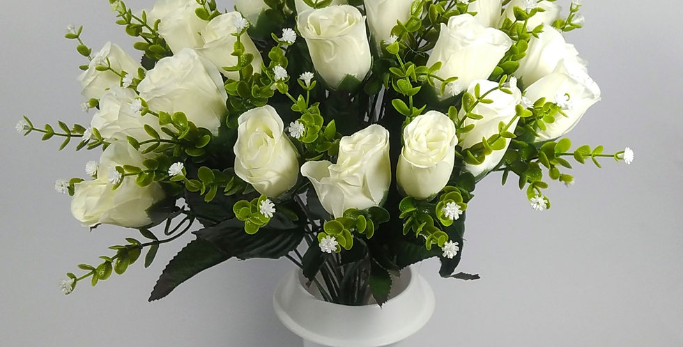 Τριαντάφυλλα μπακαρας λευκός - Μπουκέτο σε βάζο