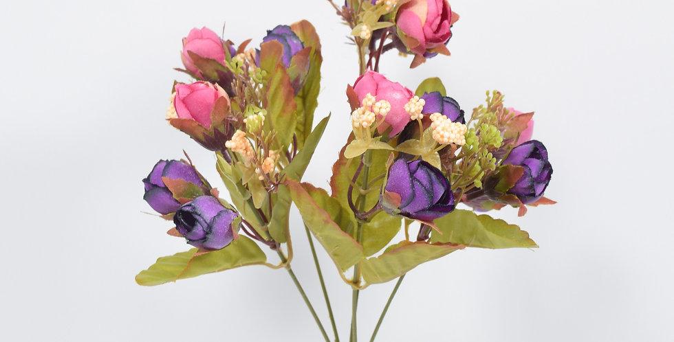 Μικρό μπουκέτο με τεχνητά άνθή (ψεύτικα λουλούδια) ,τριανταφυλλάκια, σε 2 χρωματικούς συνδυασμούς.