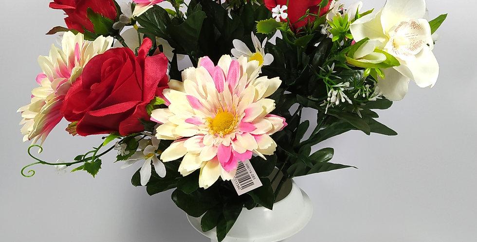 Ζέρμπερες - ορχιδέες - τριαντάφυλλα - κόκκινο - Μπουκέτα σε βάζο