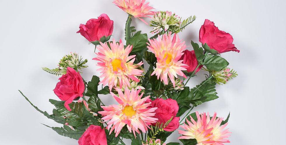 Μπουκέτο με τεχνητά άνθή ζέρμπερες και τριαντάφυλλα, σε 3χρωματικούς συνδυασμούς.