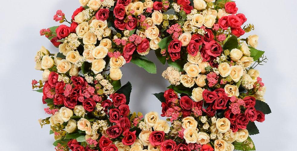 Τριανταφυλλάκια σε γήινα χρώματα κόκκινο και εκρού - Στεφάνι