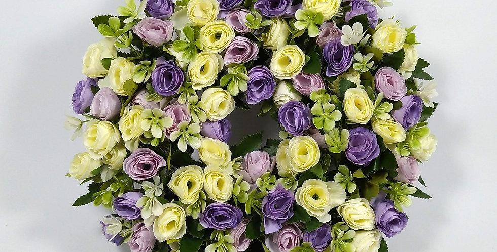 Τριαντάφυλλα λιλά μωβ και άσπρα - Στεφάνι