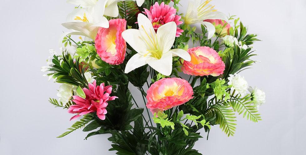 Μπουκέτο με τεχνητά άνθή, ζέρμπερες και κρίνοι, σε 3χρωματικούς συνδυασμούς. Ψεύτικα λουλούδια.