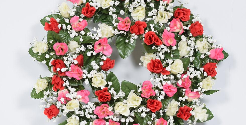 Στεφάνι με τεχνητά τριαντάφυλλα και γυψοφύλλι - ανθάκι . Σε πολλούς χρωματικούς συνδυασμούς.