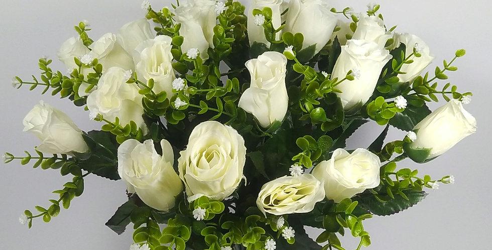 Τριαντάφυλλα μπουμπούκια  λευκά - Μπουκέτο