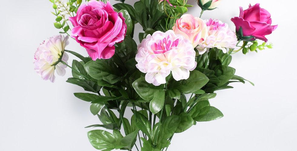Μπουκέτο με τεχνητά άνθή, τριαντάφυλλα καιζήνιες , σε 3χρωματικούς συνδυασμούς. Ψεύτικα λουλούδια.