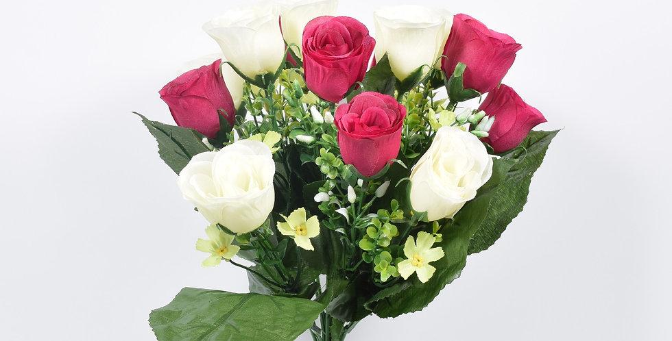Μπουκέτο με τεχνητά άνθή (ψεύτικα λουλούδια) ,τριαντάφυλλα, σε 4χρωματικούς συνδυασμούς.