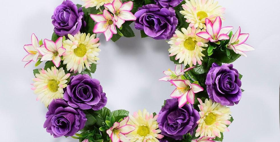 Μωβ τριαντάφυλλα και ζέρμπερες - Στεφάνι