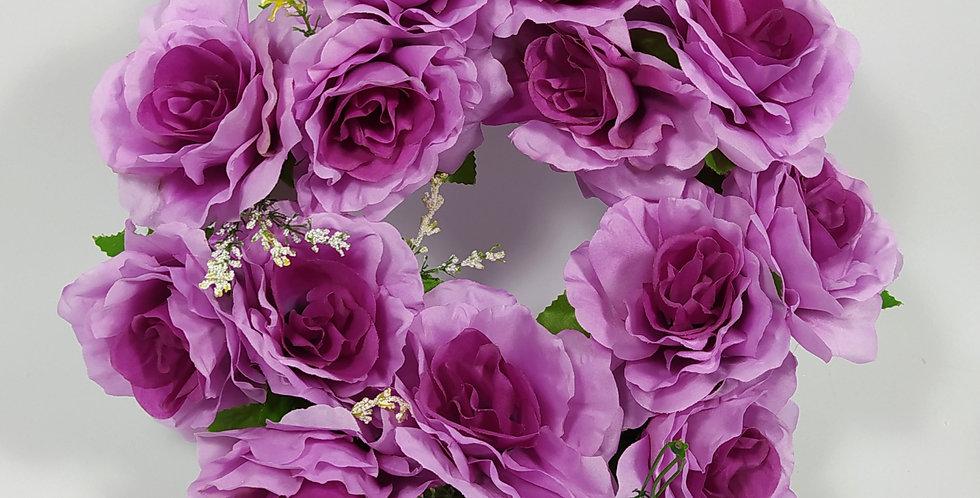 Τριαντάφυλλα μωβ μεγάλα - Στεφάνι
