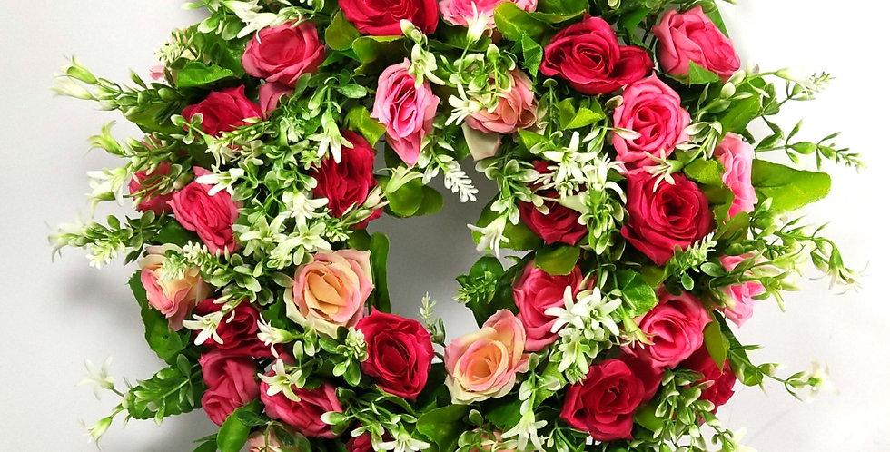 Ροζ και σομόν τριαντάφυλλα - Στεφάνι
