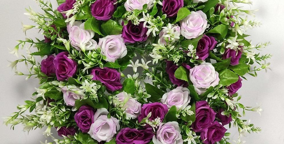 Λιλά και ροζ τριαντάφυλλα - Στεφάνι