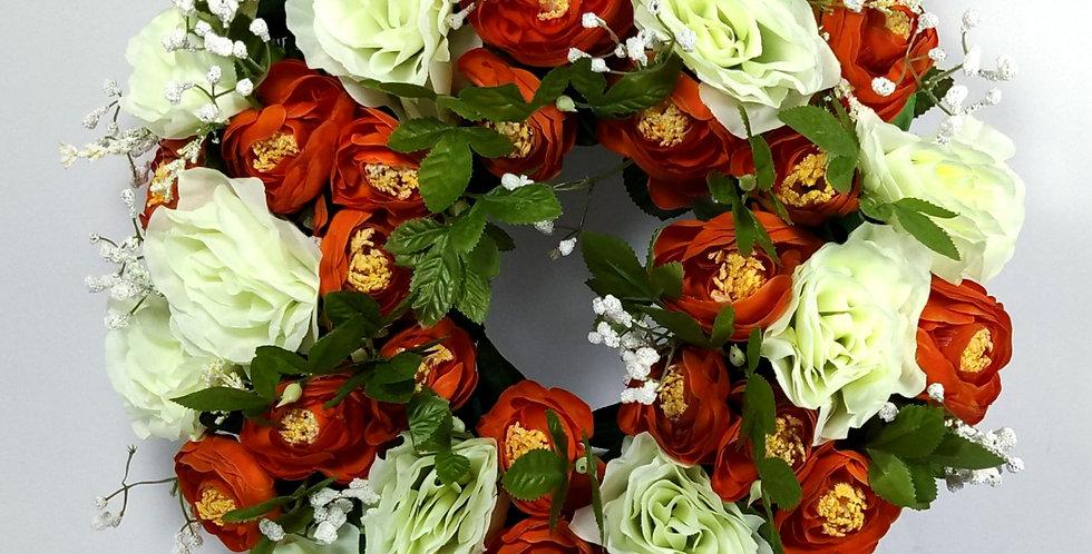Πορτοκαλί νεραγκούλες και τριαντάφυλλα - Στεφάνι