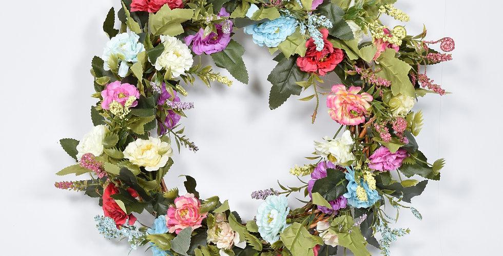 Χειροποίητο στεφάνι με τεχνητά άνθη αγριολούλουδασε ξύλινη, πλεκτή βάση.