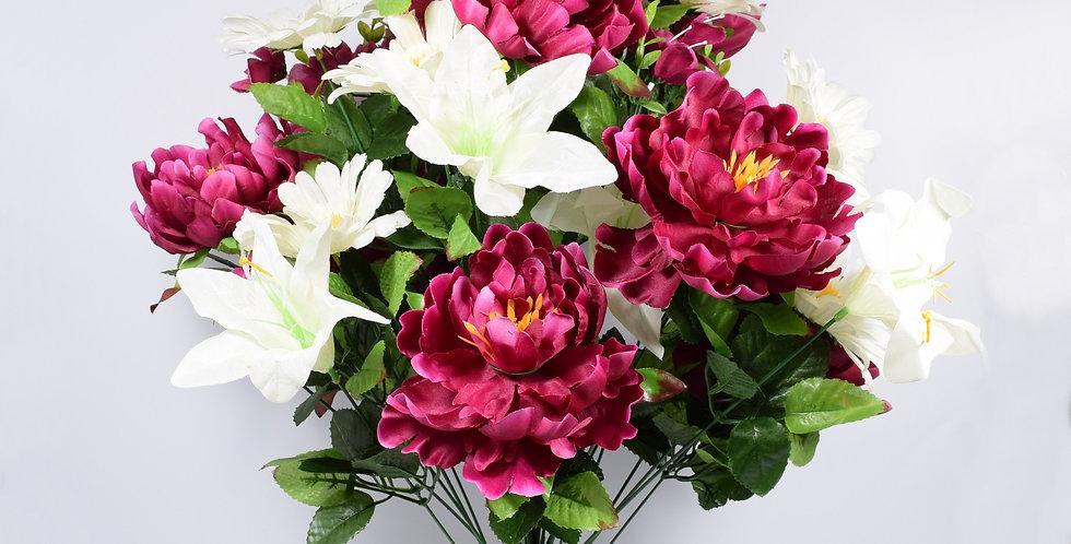 Μπουκέτο με τεχνητά άνθή, παιώνιες και κρίνοι , σε 4χρωματικούς συνδυασμούς. Ψεύτικα λουλούδια.